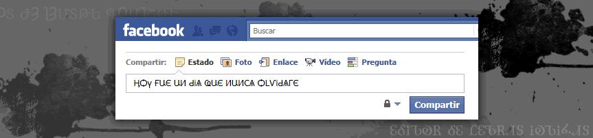 Ejemplo uso de letras goticas en el muro de Facebook