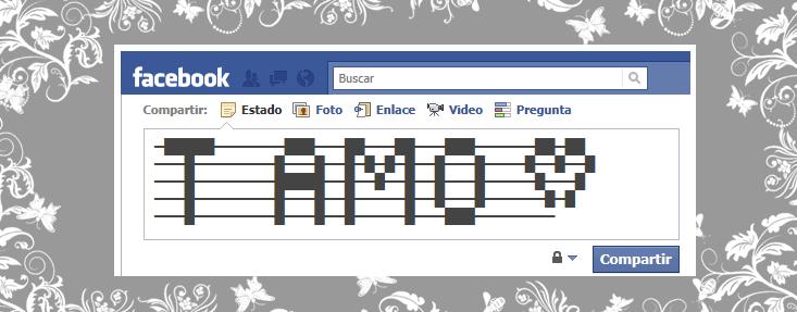 Simbolo te amo en el nick de facebook