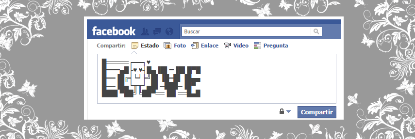 Simbolo de amor en el muro de facebook